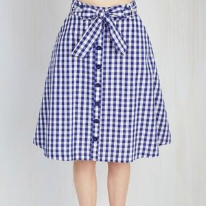 Modcloth 1x Blue Gingham Skirt Thrifting My Spirit